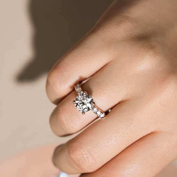 Expensive looking yet affordable 10 stone lab grown diamond engagement ring