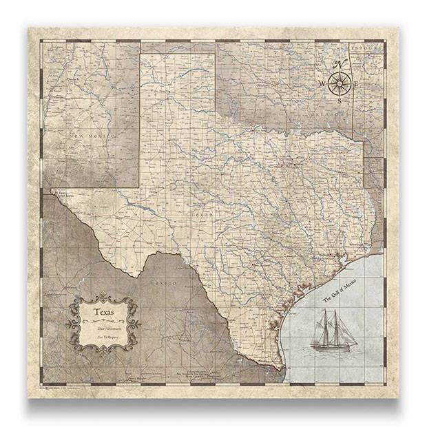 Texas Push pin travel map rustic vintage