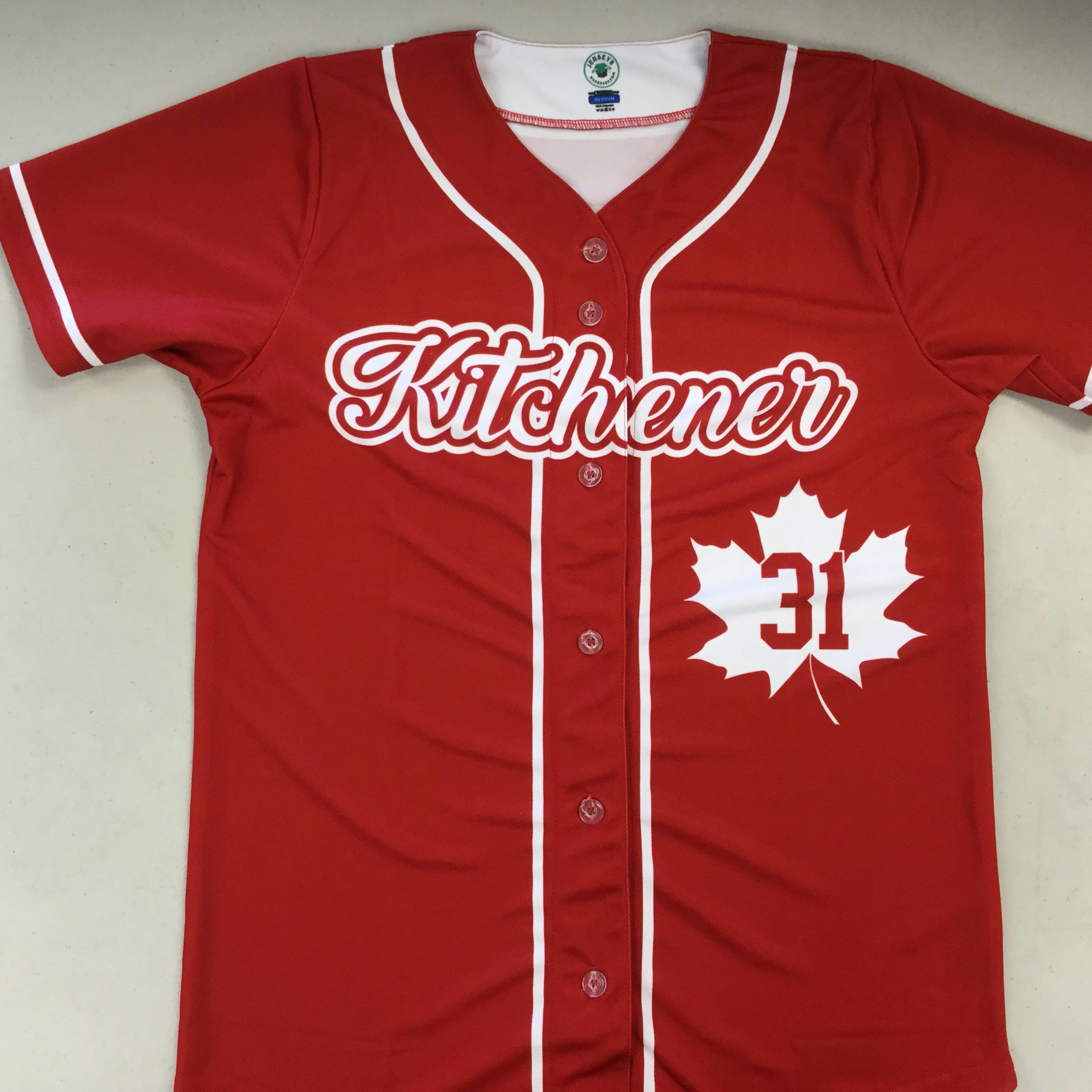 Custom Sublimated Full Button Baseball Jersey: Kitchener Klassics, Canada Day Special Edition Uniform