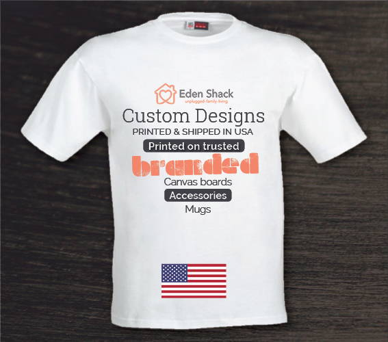 printed eden white t-shirt with custom print ad