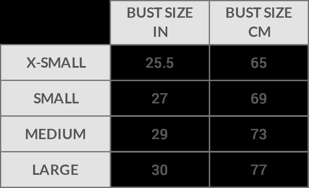 Pama London Activewear Yoga Wear Bra Size Guide