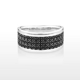 Black round brilliant cut diamond simulant men's ring crafted in sterling silver.