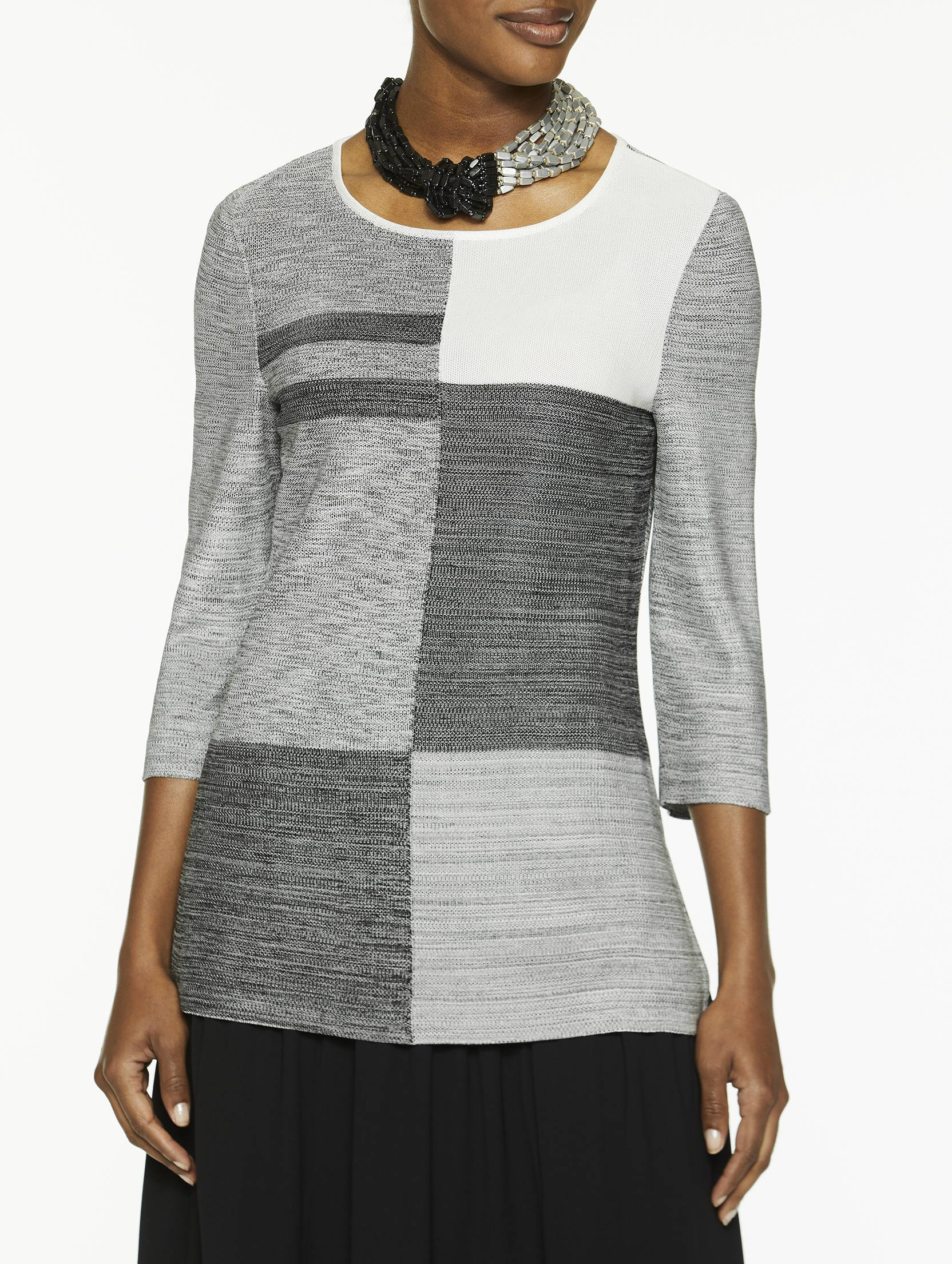 Colorblock Melange Knit Tunic in Ivory and Black
