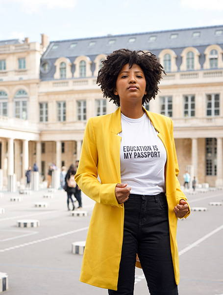 Thamara for The Blank Project wearing Education is my Passport White T-shirt  in Paris