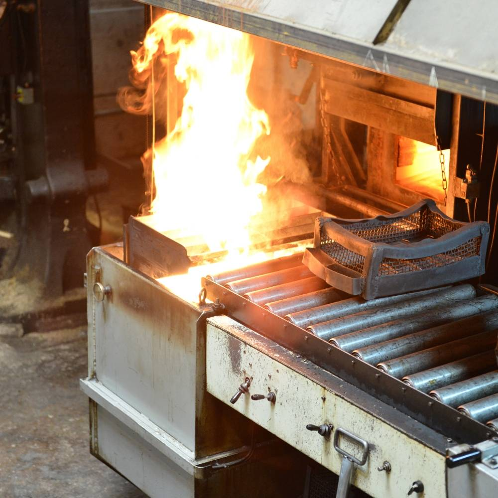 flames are created by the forge when tempering the knife blades
