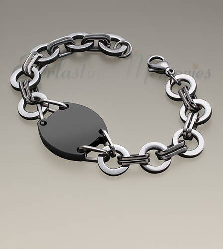 Stainless and Black Valiant Bracelet Cremation Jewelry