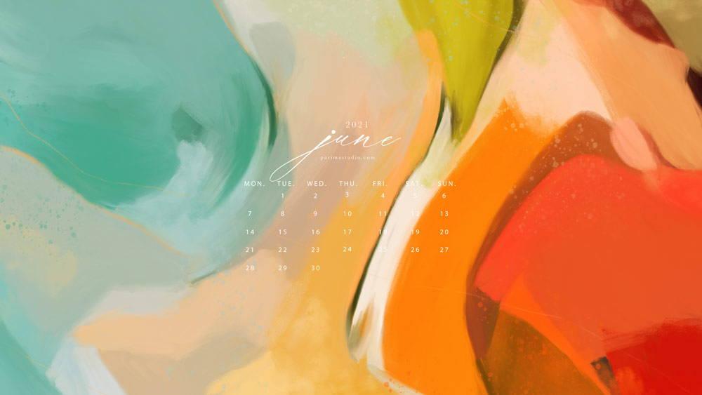 June, calendar and wallpaper download by Parima Studio - abstract art