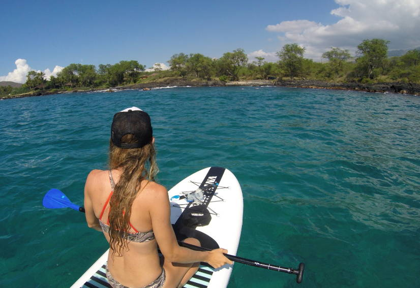 Touring on Big EZ inflatable SUP