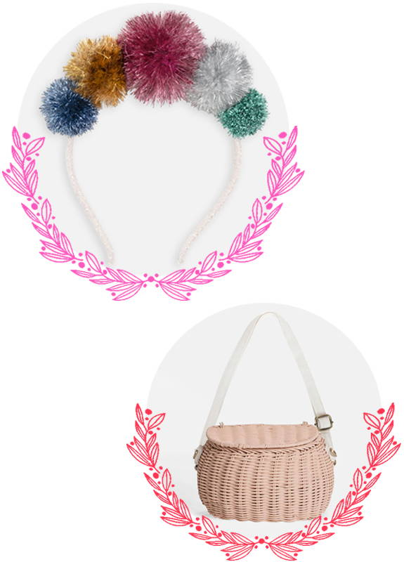 Meri Meri Pom Pom Headband and  Ollie Ella pink Chari basket for children