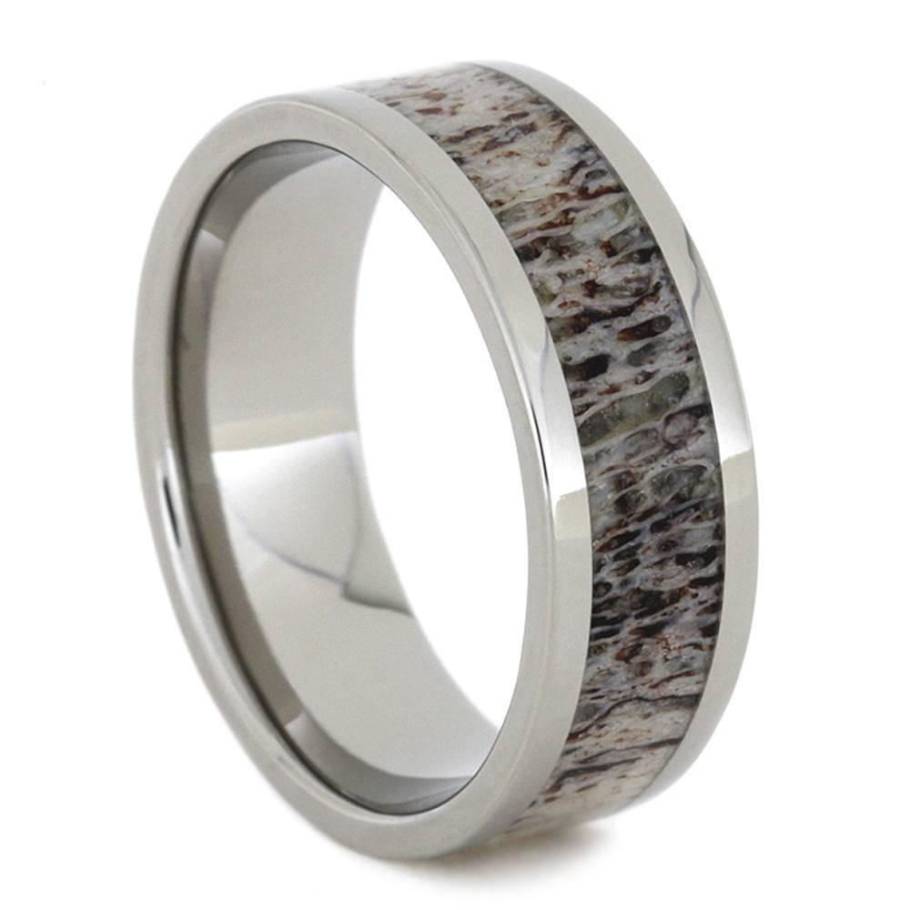 Titanium Ring with Deer Antler Inlay
