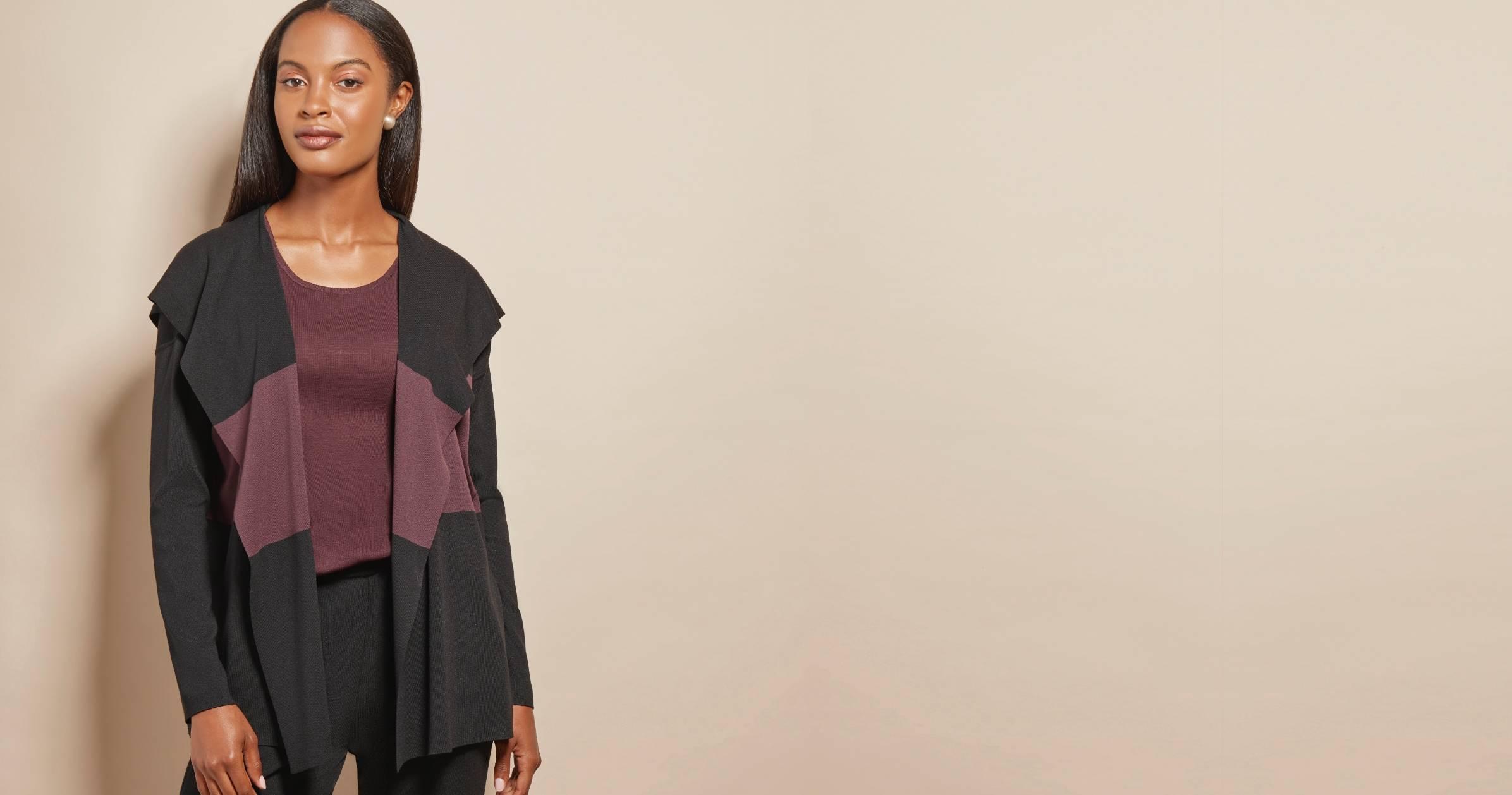 Black/Mahogany Colorblock Hooded Knit Cardigan | MISOOK