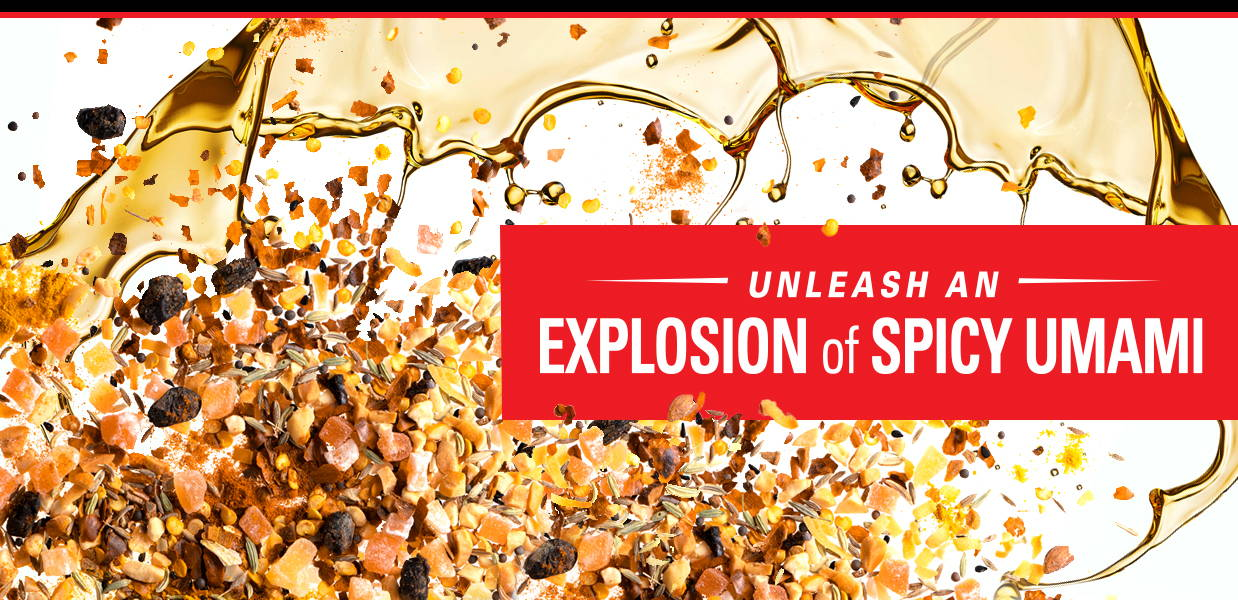 Explosion of nuts, seeds, spices and chiles in oo'mämē chile crisp with a drizzle of sunflower oil