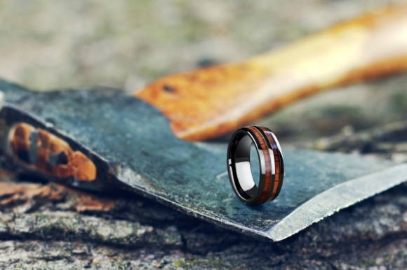 Mens 8mm Barrel Wood Ring - For the Outdoor Enthusiast