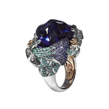 large gemstone and pave gem band ring