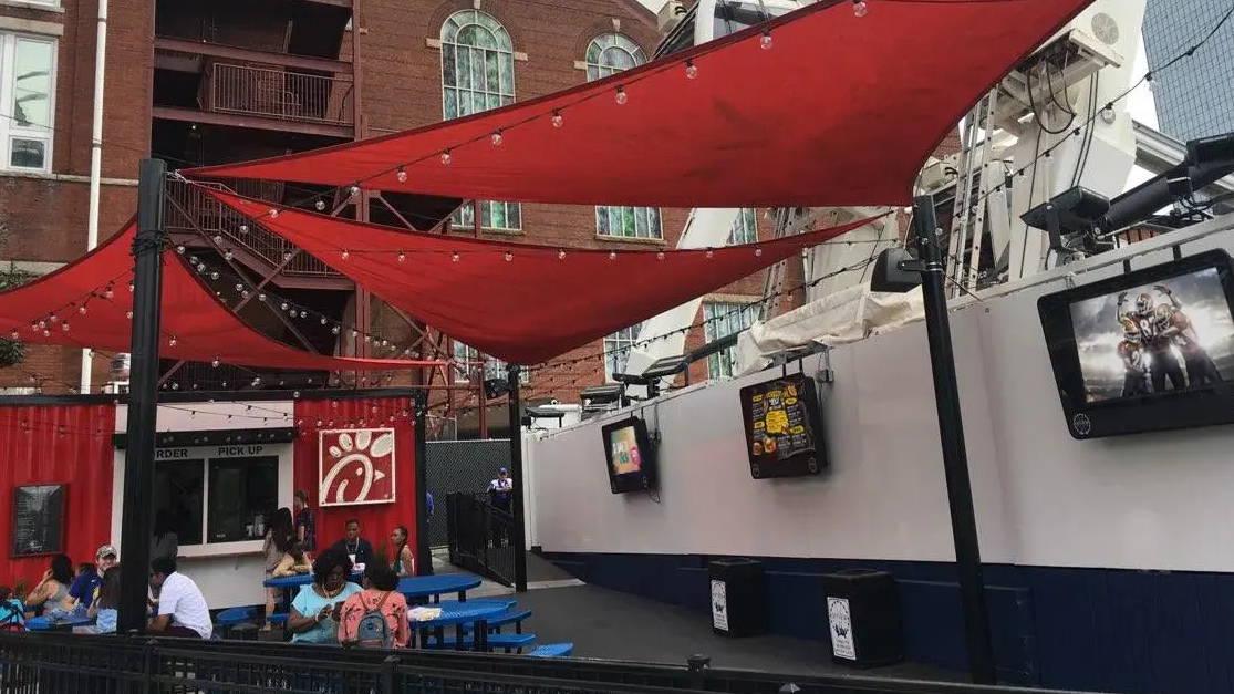 Outdoor TV enclosure for digital signage advertising and weatherproof menu boards