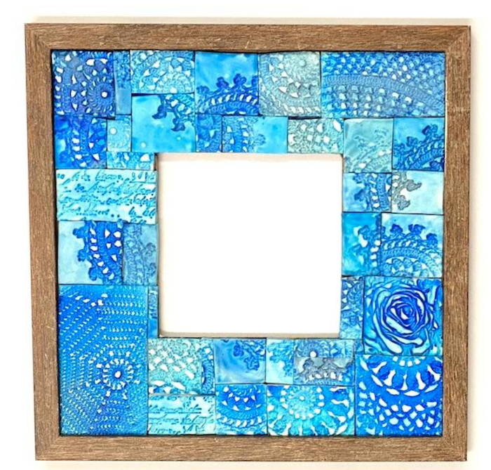 rustic blue photo frame