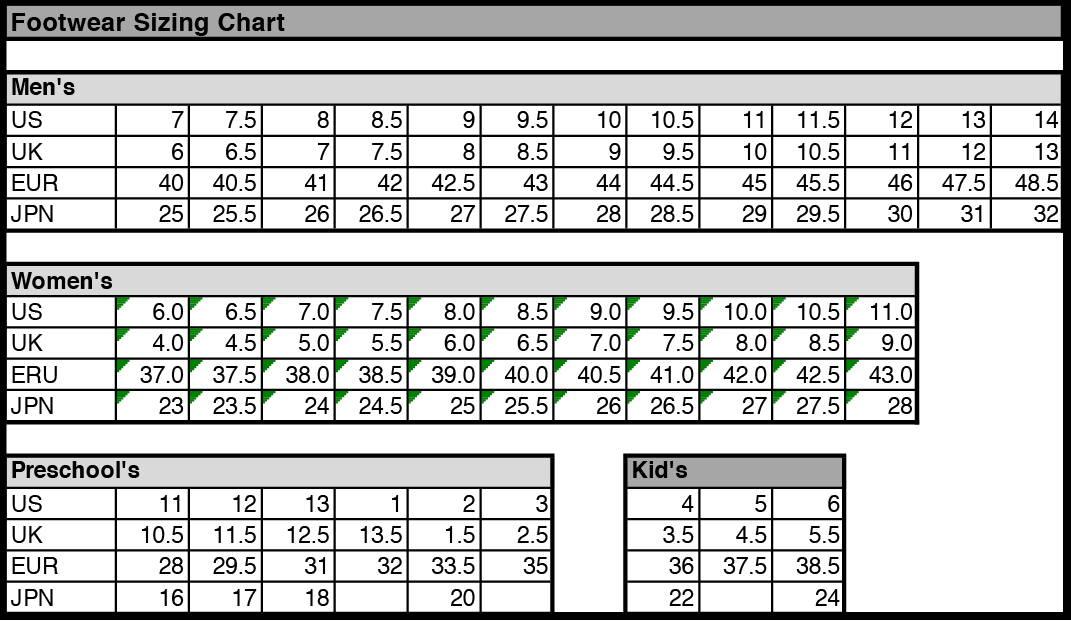 Sizing Charts Avia Com