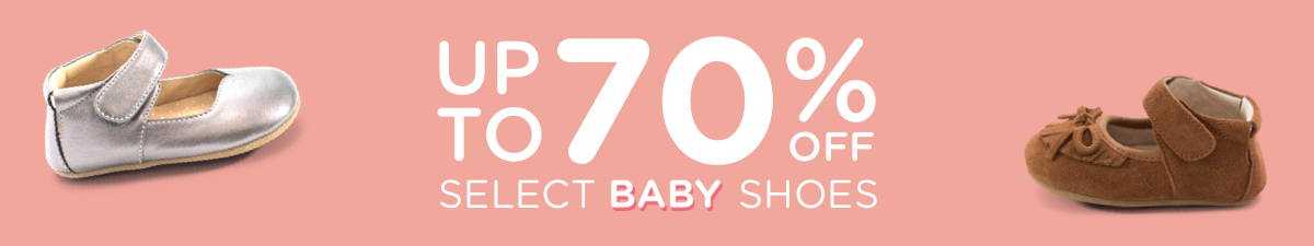 Baby shoes announcing that they are up to 70% off