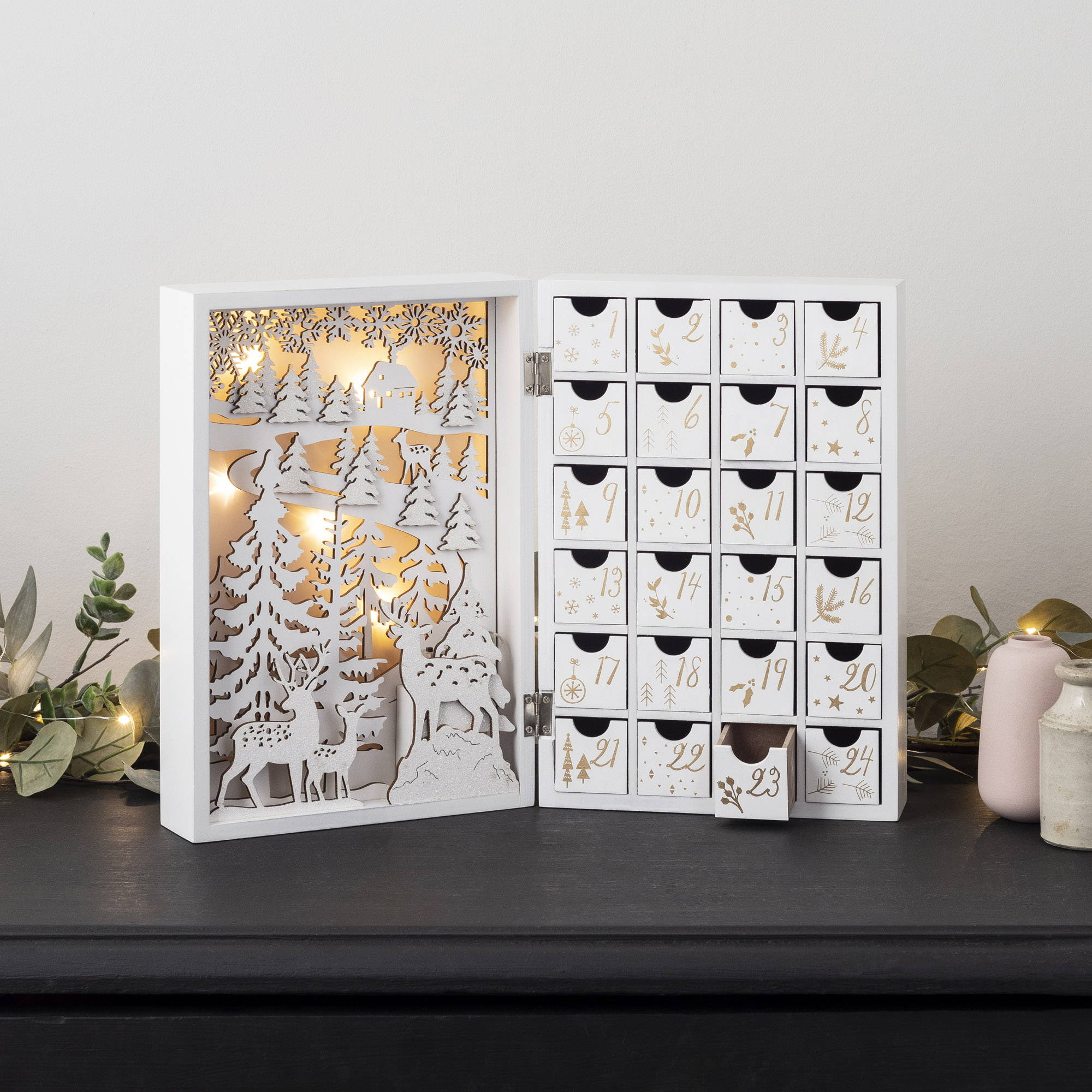 Christmas Advent Calendar Opened on Sideboard