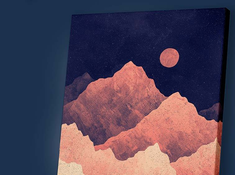Red Night Mountainscape Art by K Graphic House