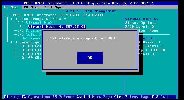 initializing a drive on the perc h700 configuration utility