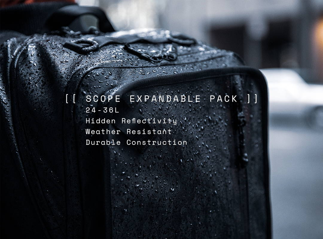 Scope Expandable Pack. 24 - 36 Liters. Hidden Reflectivity. Weather Resistant. Durable Construction.