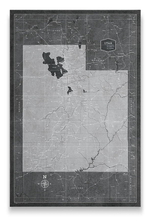 Utah Push pin travel map modern slate