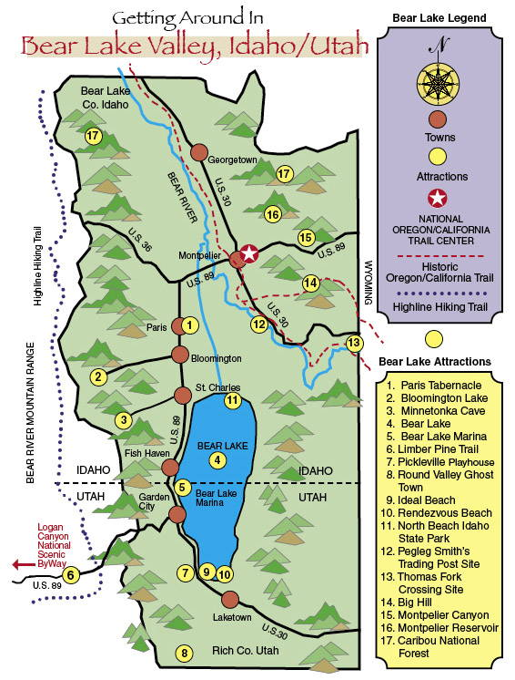 Printable map of Bear Lake Valley Recreation & Attractions