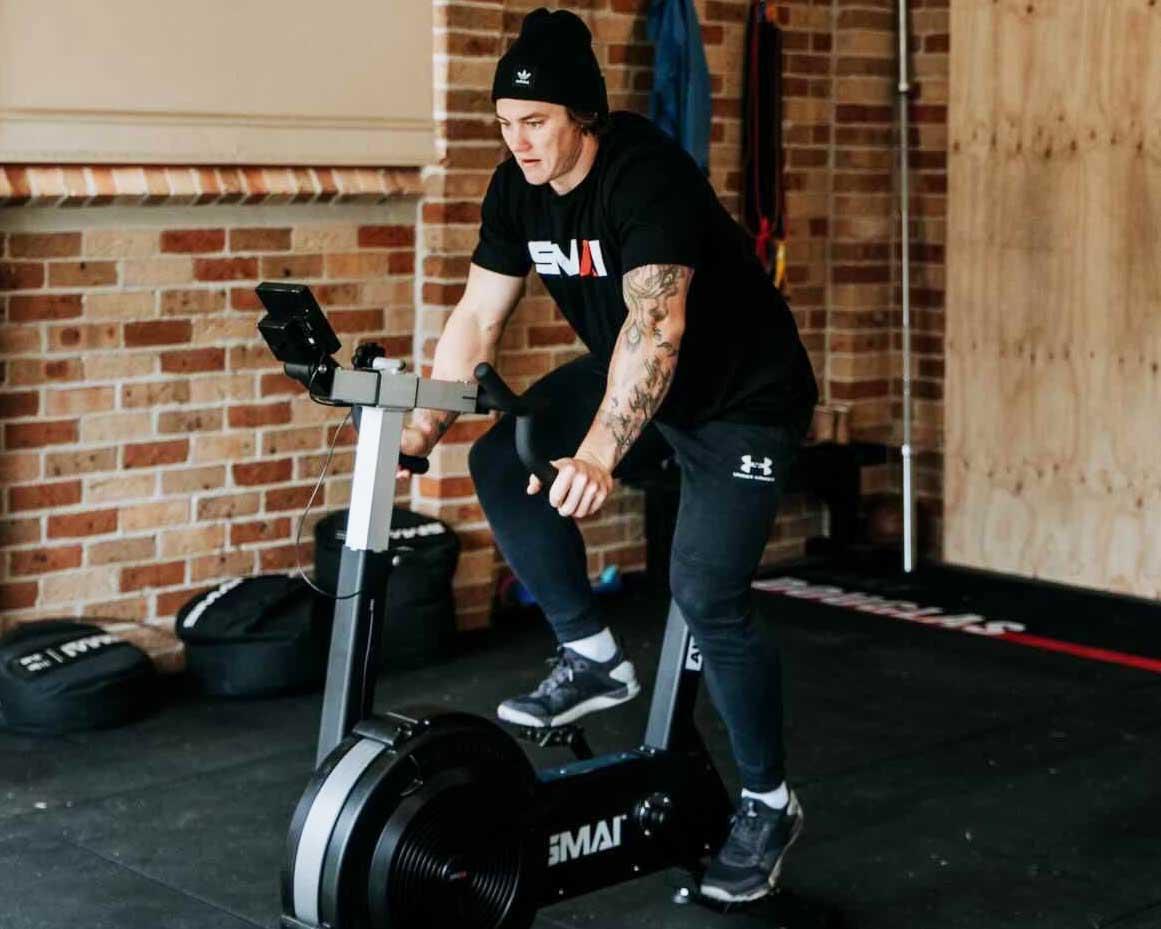 Jake Douglas riding SMAI AirSpin Bike