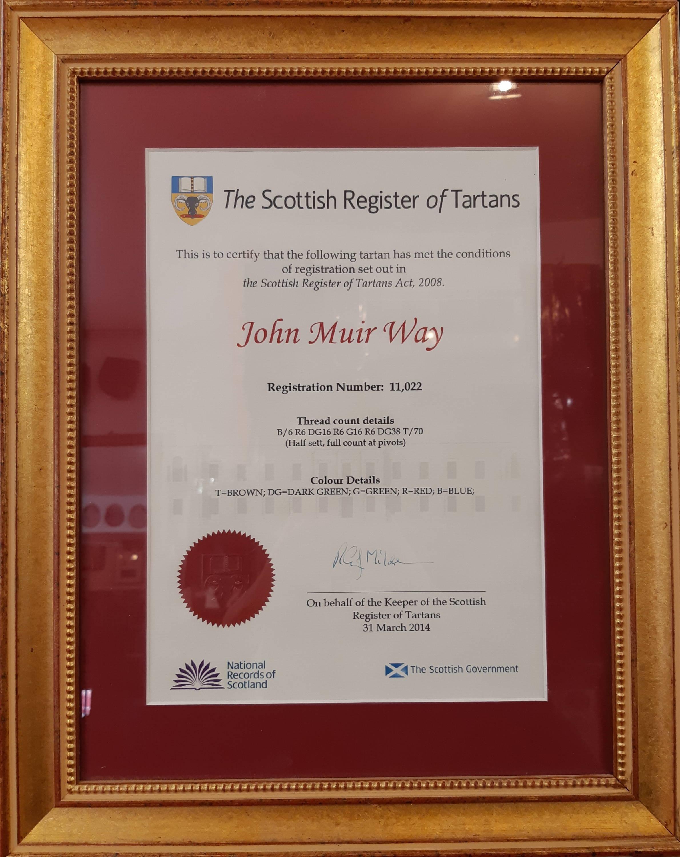 Scottish Register of Tartans certificate