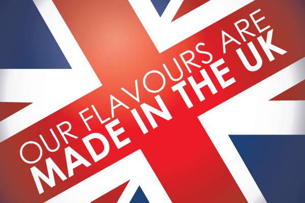Unsere Aromen und E-Liquids werden in Großbritannien hergestellt