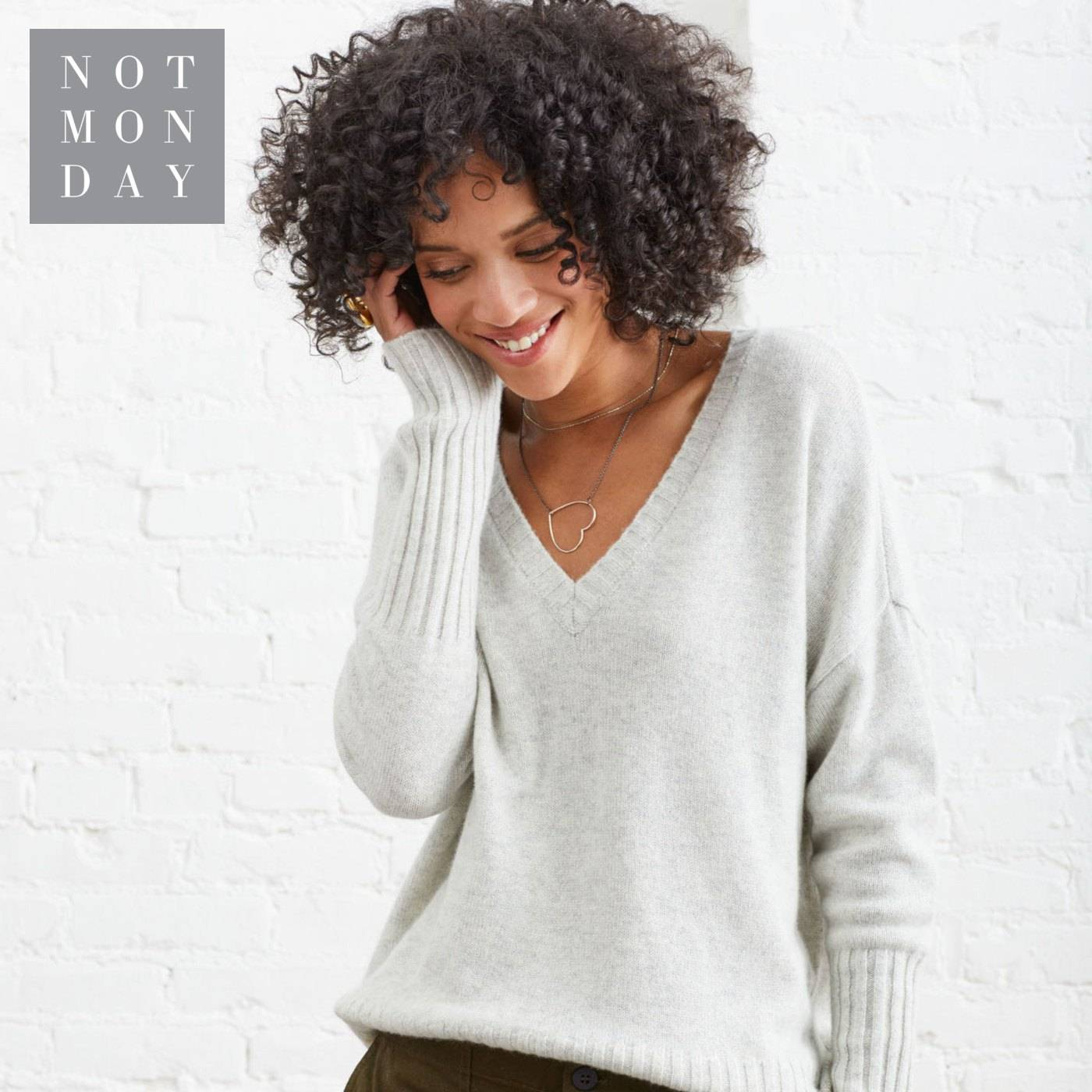 Ella V neck Cashmere Sweater in Cloud. Not Monday.