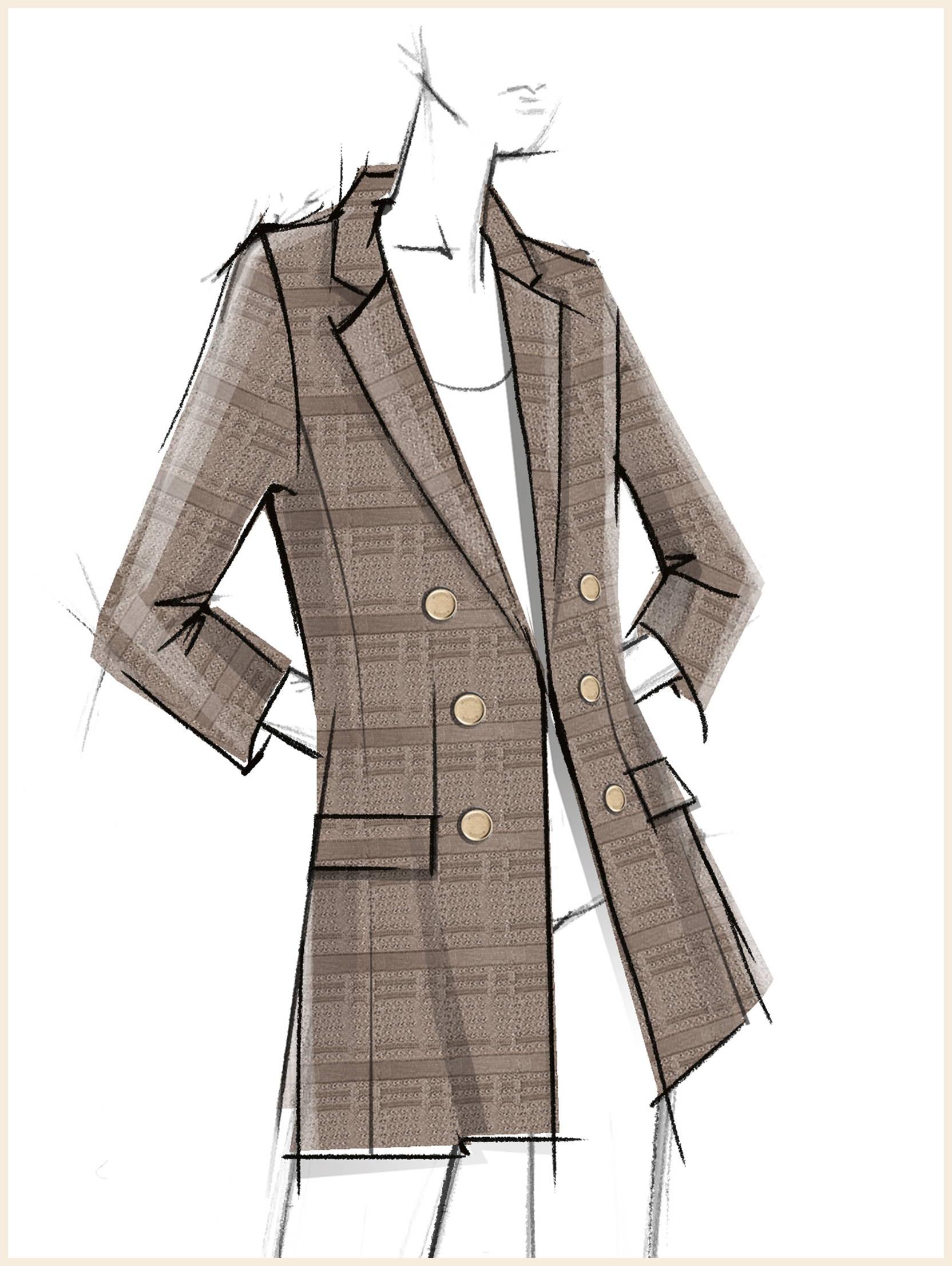 Sketch off Tailored Signature Knit Jacket, Macchiato