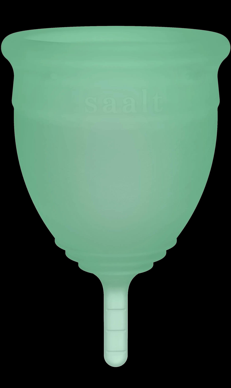 Green menstrual cup.