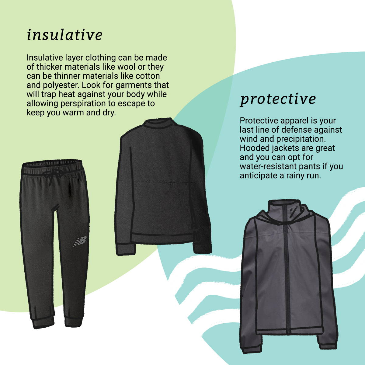 Insulative layer clothing can be made of thicker materials like wool or they can be thinner materials like cotton and polyester. Look for garments that will trap heat against your body while allowing perspiration to escape to keep you warm and dry.