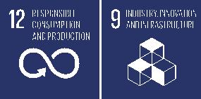Zwei der Weltziele der UN: 9. Industrie, , Innovation und Infrastruktur & 12.  Nachhaltige/r Konsum und Produktion