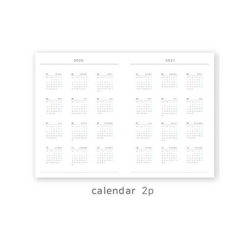 Calendar - O-CHECK 2020 Linen paper A4 dated monthly diary planner