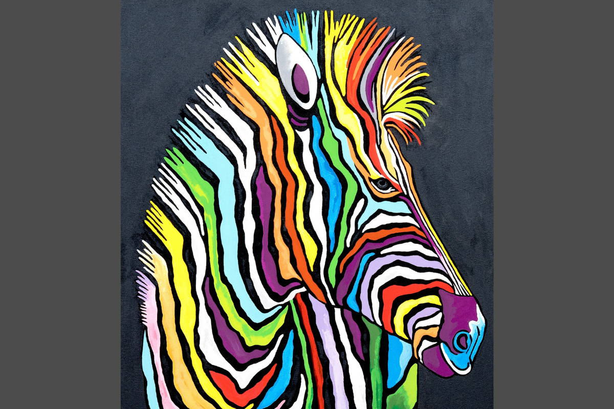 Steven Browns Multi-Coloured Zebra Art