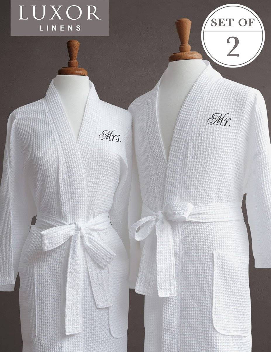 Luxor Linens Waffle Weave Spa Bathrobe - Ciragan Collection - Luxurious, Super Soft, Plush & Lightweight