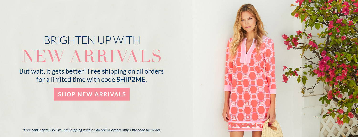Brighten up with our new arrivals! Free US ground shipping on continental orders with code SHIP2ME. One code per order. Woman wearing Spring Regatta Tunic Dress.