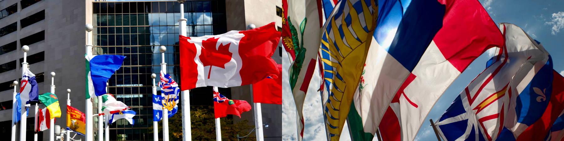All our provincial flags at Canadiana Flag are made in Canada. Alberta flag, Manitoba flag, British Columbia, nova scotia flag, Saskatchewan flag, Canada flag, ONtario flag, New foundland flag, Quebec flag
