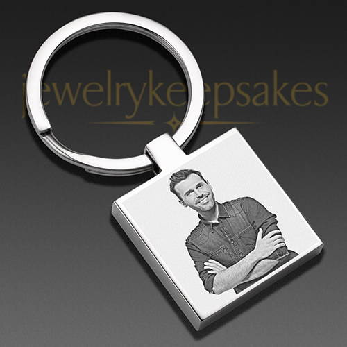 Photo Engraved Square Keychain