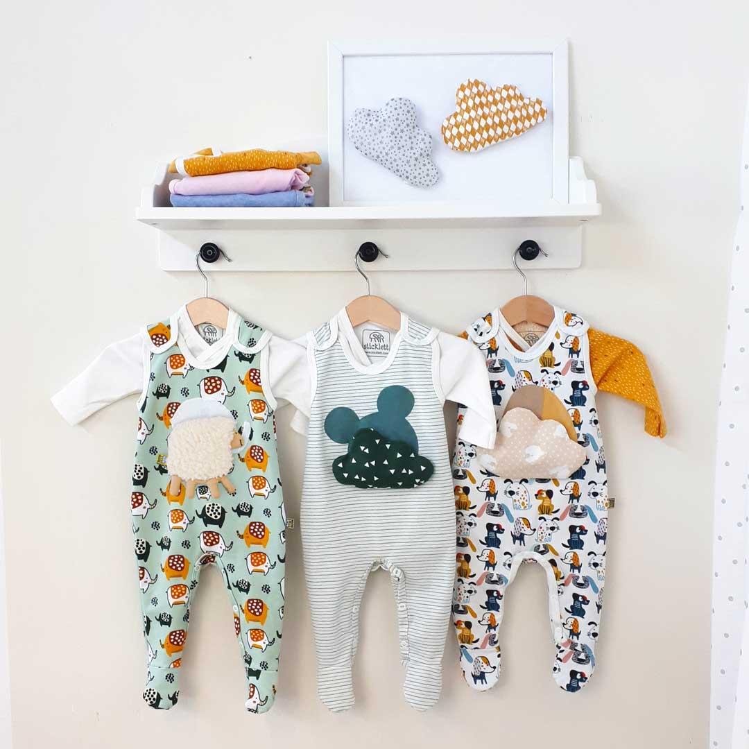 Strampler-Set für Neugeborene, Wickelbody mit Wohlfühl-Kissen