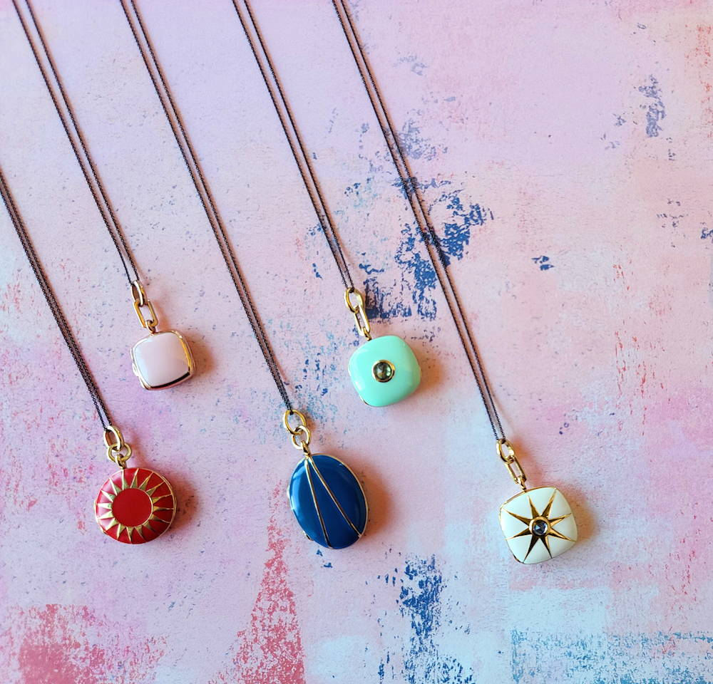 Colored locket necklaces