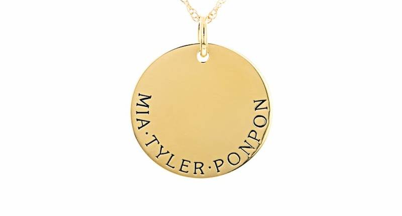 Multi-Name Gold Engraved Disc Necklace Graduation Gift Idea