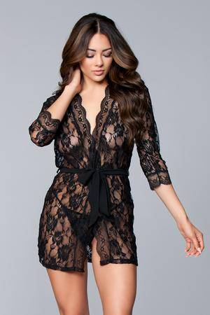 be wicked floral short lace robe