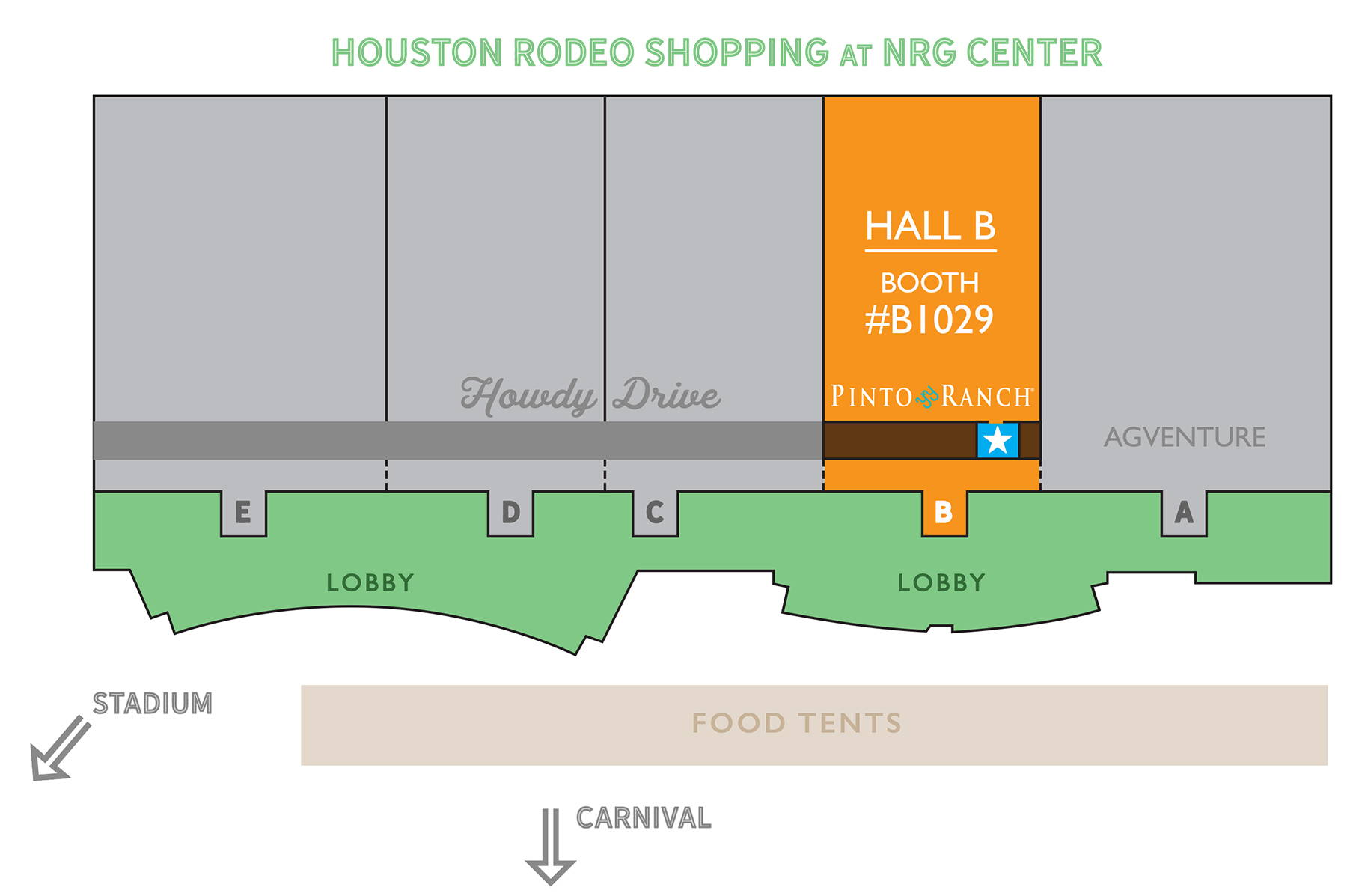 Map of the Houston Rodeo 2019 Pinto Ranch Rodeo Booth
