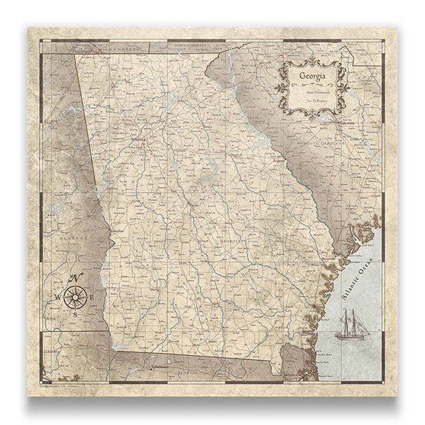 Georgia Push pin travel map rustic vintage