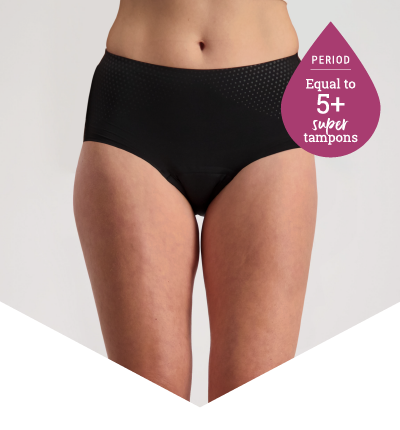 Full Brief Extra Black - Heavy Period Panties - 5 Super Tampons Worth - Just'nCase by Confitex