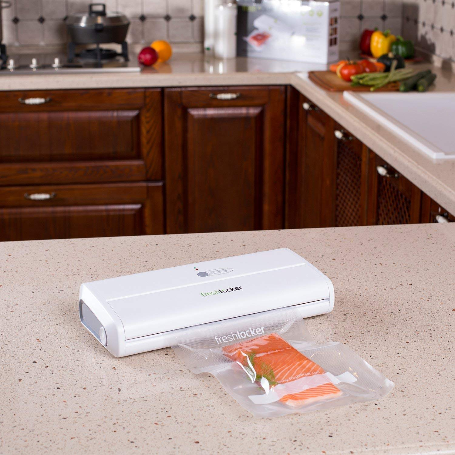 FRESHLOCKER VS90 VACUUM SEALER MACHINE,1 BUTTON AUTOMATIC VACUUM SEALING SYSTEM WITH STARTER PACK OF SAVER ROLL AND BAGS
